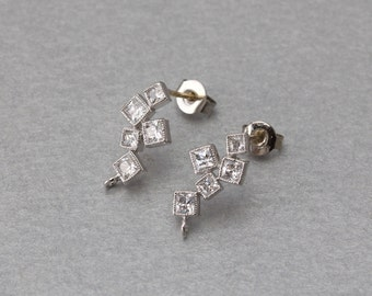 Cubic Square Post Earring . Polished Original Rhodium Plated . 10 Pieces / C9123S-010