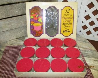 New in Original Box Vintage Kerr 12 Half Pint Decorative Crystal Squat Jelly Glasses Red Metal Lids USA