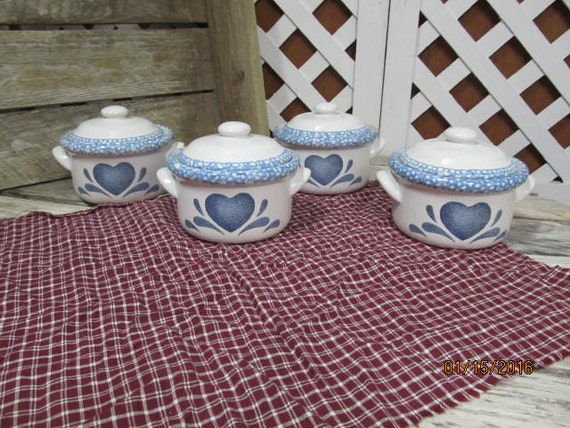 Items similar to vintage set of 4 blue heart spongeware for Spong kitchen set 702