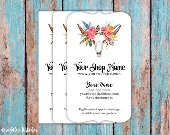 Business Cards - Custom Business Cards - Personalized Business Cards - Mommy Calling Cards - Western Feathers and Roses - P0107-7