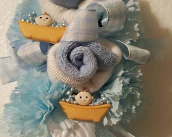 Baby Bathtub baby sock corsage
