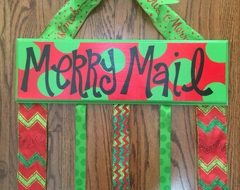 Merry Mail Christmas Card Holder--PERSONALIZED