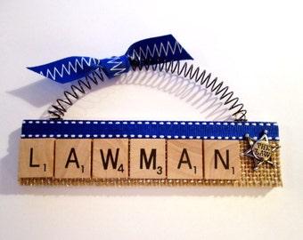 Lawman Police Scrabble Tile Ornament