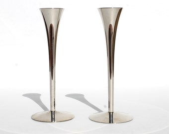 Mid Century Modern Chrome Candle Stick Holders