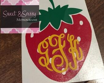 Strawberry Monogram Decal, Strawberry Monogram Car Decal, Strawberry Sticker