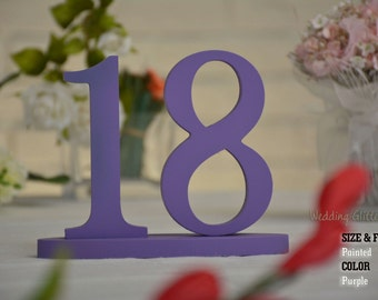 Wedding Letters Script, Wood Number Decoration, Wooden Gold Numbers For Weddings, Purple Table Number  Painted SET 1-20, Table Number