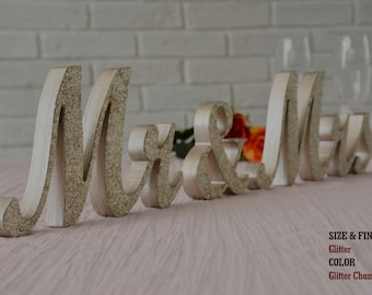 Champagne Glitter Mr and Mrs Wedding Signs, Mr & Mrs Wood Wedding Decoration, Glitter, Mr and Mrs Wedding Photo Prop, Glitter Mr and Mrs