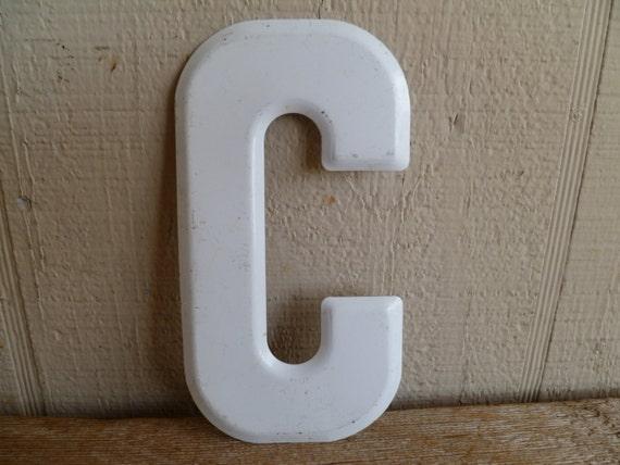 White Tin Wall Decor : White metal letter c wall decor sign
