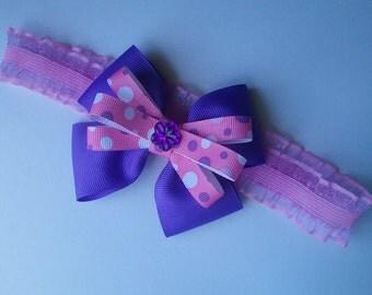 Purple and Pink Ruffle Elastic Headband