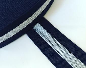 1 inch elastic, 25 yards 1 inch dark navy and white striped elastic, wholesale elastic webbing