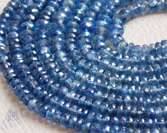 "1. Strand 16"" Real Kyanite Faceted Roundel Beads 6X3 mm Approx Top Finest AAA Quality 100% Natural Wholesale Price New Arrival"