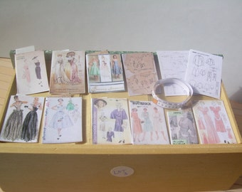 Set of sewing patterns for dolls house.  Miniature sewing patterns.  Dolls house sewing pattern in 1:12  scale by Mimi of Minnies Miniatures