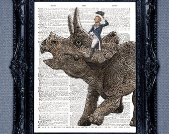 Alexander Hamilton riding a dinosaur dictionary page art print -cool upcycled vintage dictionary page book art print.