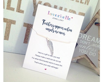 "Wish Bracelet - ""Feathers Appear When Angels Are Near"" Gift for Her, Greeting Card"