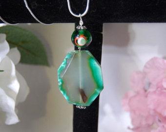 Agate Lampwork Eye Pendant Necklace Good Luck