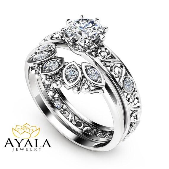 Natural Diamond Wedding Ring Set In 14K White Gold Unique