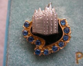 Vintage Mormon LDS Temple Lapel Pin 1/10 12K Gold With Blue Stones, Mormon Jewelry, Mormon LDS Award Pin, CTO Pins