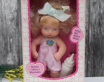 Vintage Doll, 1988 Horsman Doll Kristi Sofskin, Drinking Wetting Washable Doll With Lite n Fluffy Hair, Collectible NOS Dolls