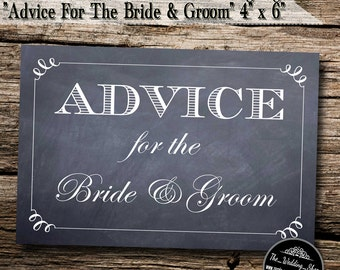 """Instant Download- 4"""" x 6"""" Printable PDF Chalkboard Style DIY Wedding Sign: Advice For The Bride & Groom"""