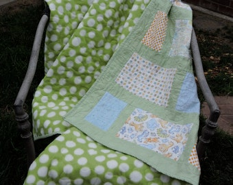 Baby Boy, Toddler Quilt with Reversible Fleece Polk-a-Dots