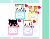 "4x5"" Kawaii eMail Label Planner Planning Cute Sticker Stickers for Erin Condren Vertical Life Amelie #0491"