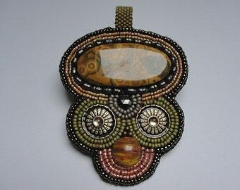 Bead embroidery pendant glass bead pendant