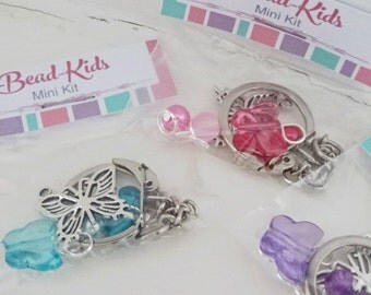 DIY Keyring Making Kit for Kids, Craft Kit, Beading Kit, Beads for Kids, Keyring Kits, Bead-Kids, Butterfly Key Chain, Key Chain Kit