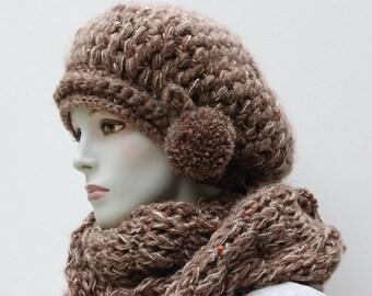 Slouchy Beanies-Oversized Scarf-Winter Knit Beret-Womens Knit Beret-Slouch Beanie Women-Scarf Infinity Knit-Women Eternity Scarf-Knit Beret