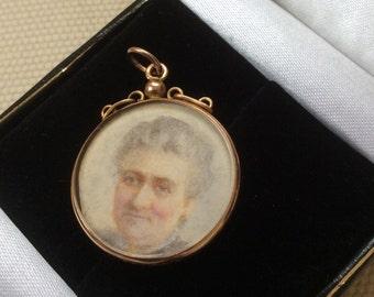 Antique Edwardian 1904 Miniature Portrait Gold Pendant