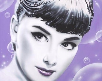 AUDREY HEPBURN portrait/celebrity painting on canvas by Artist Alicia Hayes