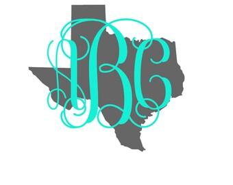 Texas Vine Monogram, Personalized decal, Yeti decal