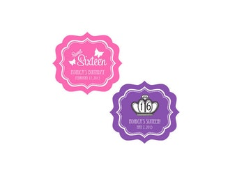 Sweet Sixteen Favor Labels-Quinceanera Favors-Bar Mitzvah Favor Labels (set of 24)