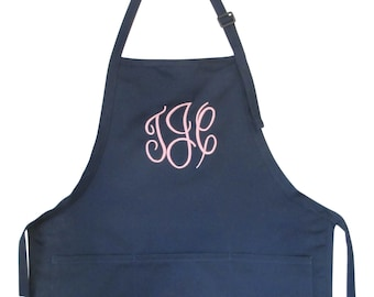 Womens Aprons Personalized Monogrammed adjustable 3 pockets wedding gift BBQ apron