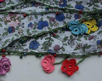 Handmade flower laced scarf
