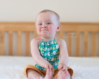 Baby newborn or 6-12 months  girl or boy yellow, mustard, green romper short trousers, funny, chicks, Photo prop RTS