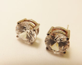 Sterling Silver Large Round Cut Clear Rhinestone Earrings