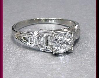 Antique Vintage Art Deco 18K White Gold Old European Cut Diamond Engagement Ring Wedding Ring - ER 436M