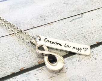Urn necklace - Hand stamped necklace - Loss necklace - Cremation jewelry - Memorial necklace - Infinity necklace - Cremation necklace