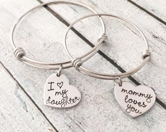 Mommy and me bracelet set - Hand stamped bracelet - Expandable bracelet set - Mother and daughter jewelry - Girl back to school