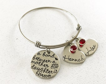 Mother's bracelet - Bond between mother and daughter - Custom jewelry - Mommy jewelry - Hand stamped bracelet for Mother - Gift for mom