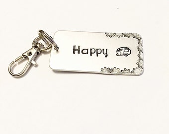 Hand stamped jewelry - Hand stamped key chain - Happy camper - Camper key chain - Fun key chain - Camper lover