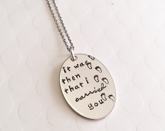 It was then that I carried you - Inspirational ncklace -Hand stamped necklace - Religious jewelry - Faith jewelry - Religious gift