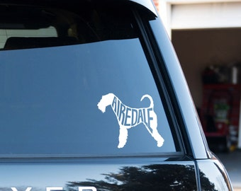 "Airedale Terrier Vinyl Decal with ""Airedale"" inside"