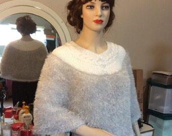 Hand Knit Fun Fur Cape/Poncho with Cabled Collar