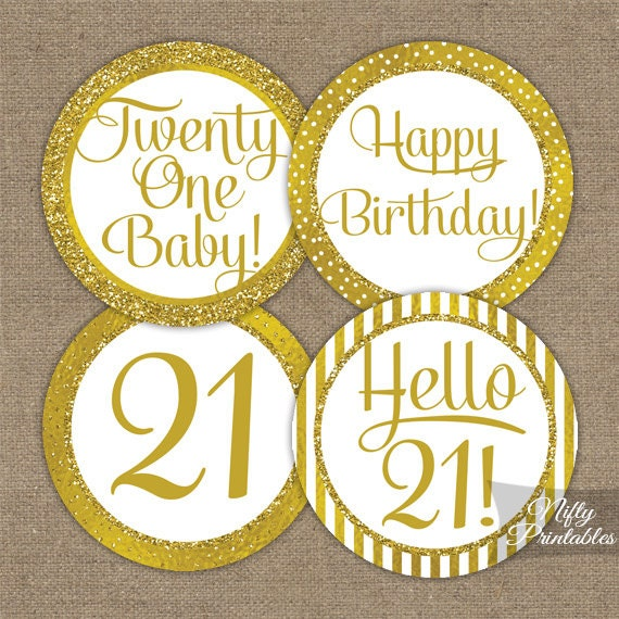 21st Birthday Cupcake Toppers Gold 21st Birthday Toppers