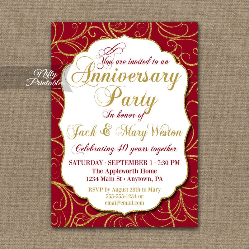 40th anniversary invitations printable 40th wedding for 40th wedding anniversary invitations