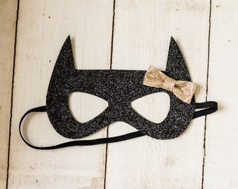 Batgirl Glitter Mask for Infant, Child, or Adult