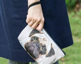 Pug dog wristlet, pug dog clutch, pug dog purse, pug pouch, pug bag  - PO-77