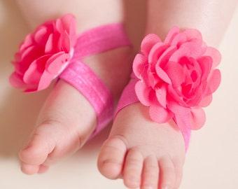 Fuchsia Baby Barefoot Sandals,  Baby Sandal, Toe Blooms, Newborn Sandals, Toddler Sandals, Baby Girl Sandals, Elastic sandal