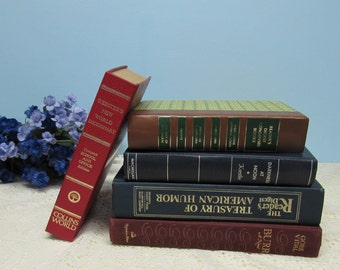 Vintage Book Collection ~ Set of 5 Books in Blue's, Red's and Brown Colors ~ Photo Shoot ~ Literary or Wedding Décor ~ Book Collector